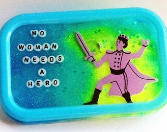 Feminist Gift: No Woman Needs a Hero, Bathroom Decor, Shower Decor, Feminist Gift, Feminist Art, Feminism