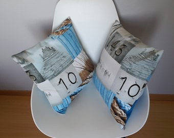 Cushion cover in grey and blue, marine decor seaside style