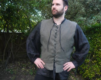 Doublet, Paltock, Tunic Medieval Men's Olive green linen lined, front laced. Mens Medieval clothing, historical costume.LARP Reenactment.