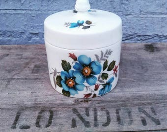Little blue and white floral lidded pot
