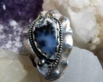 handmade ring, dendrite opal, sterling silver natural stone ring, size 8 ring, healing stone, natural stone ring, opal ring, dendrite opal
