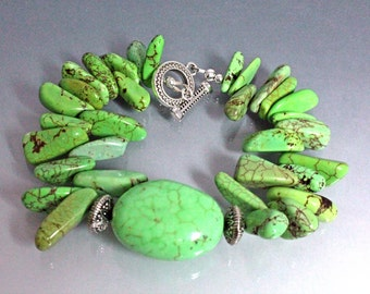 Mint Green Chalk Turquoise Bracelet, Southwestern Style