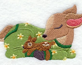Fawn in PJs with stuffed animal Embroidered Flour Sack Hand/Dish Towel