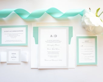Stylish Wedding Invitations, Mint and Silver Wedding Invitations, Mint Green, Mint Blue, Color Customize! - Deposit