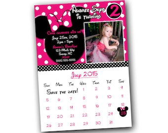 Minnie Mouse Invitations, Minnie Mouse Birthday, Pink Minnie Mouse invitations, Minnie Mouse party, save the date, calendar