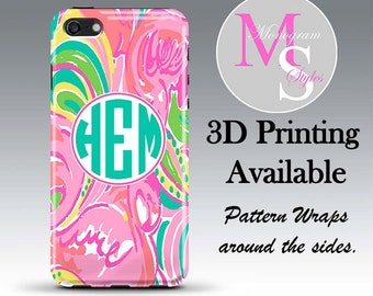 Monogram iPhone 6 Case Personalized Phone Case Lilly Pulitzer Inspired Monogrammed iPhone, Iphone 4, 4S, iPhone 5S, 5C iPhone 6 Plus #2604