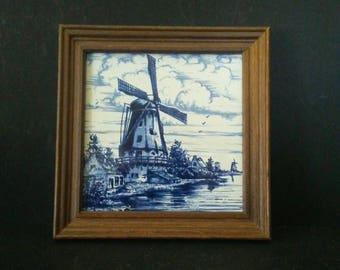 Framed Delft Blue Tile