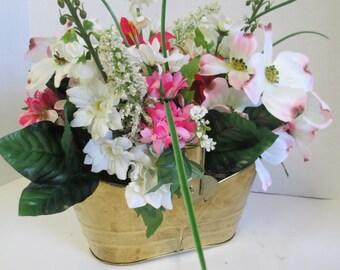 Vintage Brass Basket floral arrangement Centerpiece Spring OOAK