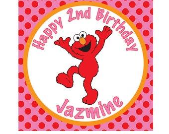 Elmo Inspired Girly Birthday or Centerpiece Sign- Customized Digital File