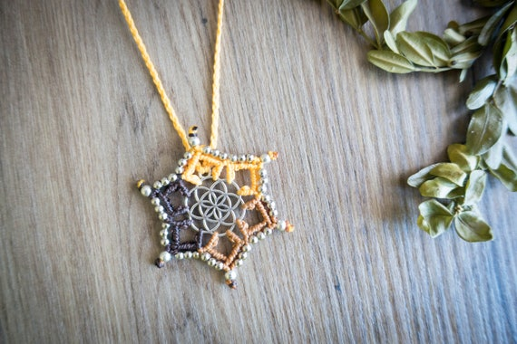 Macrame mini seed of life necklace