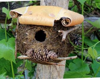 Natural Birdhouse, Handmade Birdhouse, Fairy House, Decorative Birdhouse  Functional Birdhouse Moss Birdhouse Green Bird House Garden