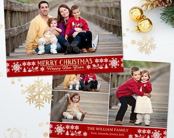 Holiday Christmas Card Template for Photographers - 5x7 Photo Card 034 - C313, INSTANT DOWNLOAD