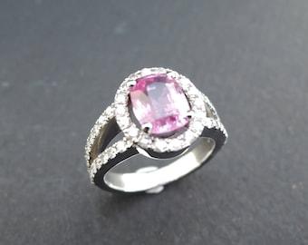 Beautiful pink sapphire ring and diamonds.