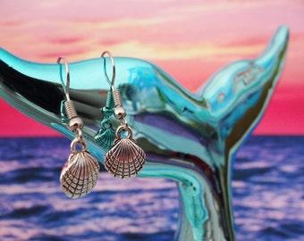 Tiny Little Clamshell Earrings Shell Seashell Clam Fan Scallop I'm Really A Mermaid Siren Earring  Drops Drop Dangle Silver