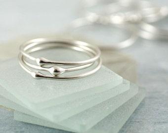 Stacking Ring Set - Silver Stacking Rings - Elegant Set of 3 | Stackable Rings Argentium Sterling | Silver Drop Ring