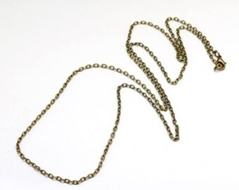 """10 Antiqued Bronze Chain Necklace 31"""" 3mm Lobster Clasp"""
