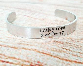 Handstamped Custom Silver Cuff Bracelet