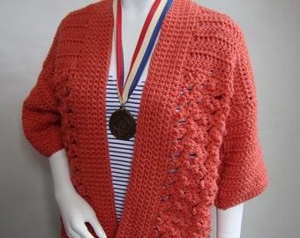 Crochet Cardigan, Cardigan, Orange Cardigan, Crocheted Cardigan, Cardigan Women, Cardigan Sweater, Acrylic Cardigan, Available in M