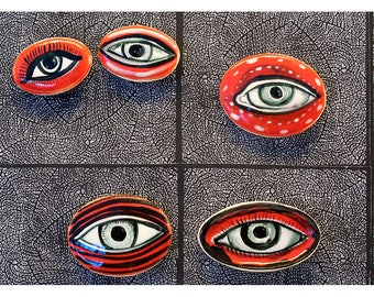 Five Red Eye Shaped Refrigerator Magnets by Jenny Mendes
