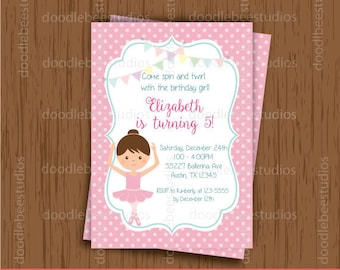 Ballerina Invitations, Printable Ballerina Invitations, Ballerina Party, Ballerina Digital Cards, Ballerina Invitation Cards