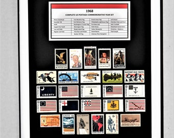 1968 Complete US Postage Commemorative Year Set - Birth Year Gift - Postage Art
