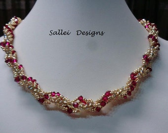 Ruby Crystal and Gold Beaded Necklace, Swarovski Ruby Bicones and gold Toho Gold Seed Beads