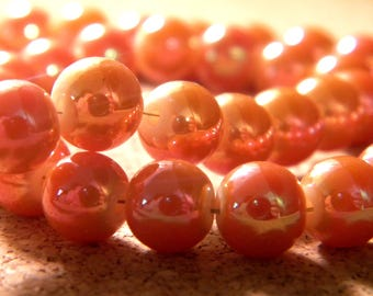 10 pearls 8 mm brass plated - imitation jade 2 tones - orange PE200 2