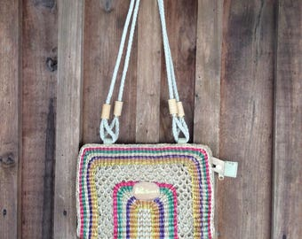 Vintage Colorful Boho Beach Tote Woven Summer Purse-Pride of the Bahamas Bag by Vintage Sift Free Shipping in USA