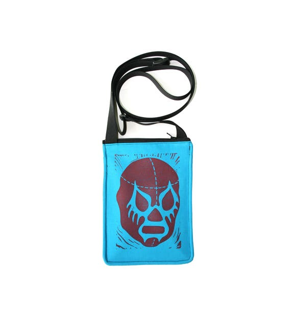 SALE!! Luchador, lucha libre, turquoise, block print, small cross body, vegan leather, zipper top, passport bag