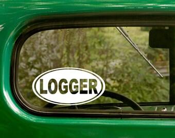 Oval Logger Decal, Car Decal, Logger Sticker, Logging Decal, Euro Decal, Laptop Sticker, Oval Sticker, Bumper, Vinyl Decal, Car Sticker