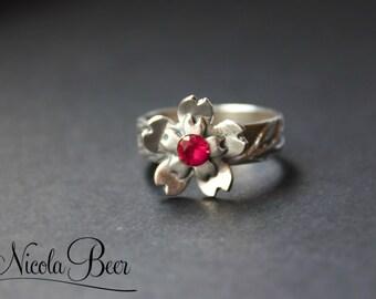 Fine Silver Cherry Blossom Ring UK M U.S 6.5