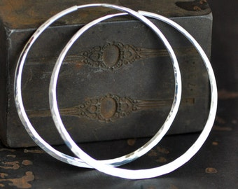 Large sterling silver hoops,  2 1/2 inch, smooth texture mirror polish or your choice,  endless style hoop earring