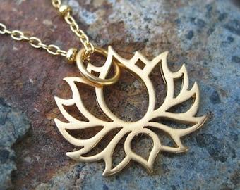 Full Bloom Lotus Flower Charm Gold - Yoga Jewelry - Vermeil Lotus Necklace
