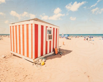 Beach Photography, 'Candy Striped Day', Limited Edition Fine Art Photo, Image Transfer on Wood Panel by Patrick Lajoie, summer beach hut
