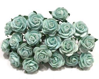 Aqua Blue Open Mulberry Paper Roses Or119