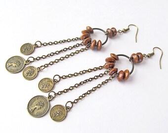 Bohemian Gypsy Earrings, Super Long Chandelier Earrings, Vintage Belly Dancer Costume Jewelry, Faux Coin Earrings, Tribal Bohemian Jewelry