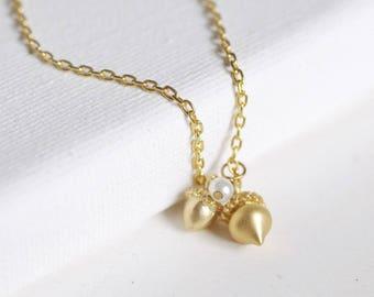 acorn charm necklace . gold acorn necklace . nature inspired jewelry . tiny acorn . motherhood pendant . little acorn . woodland