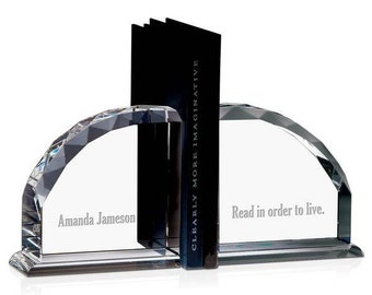 Engraved Crystal Bookends