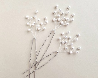 Baby's Breath Hair Pieces, Beaded Bridal Headpiece, Pearl Hair Pins, Wedding Vine Hairpiece, Beaded Hair pins, Beaded Headpiece,