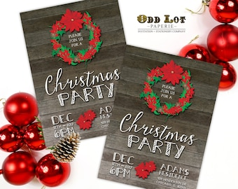 Rustic Christmas Party Invitation, Pine Cones and Holly Berries, Printable Party Invite, DIY Christmas Holiday Party Invite Printable