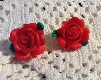 Red Poly Clay Flower Post Earrings