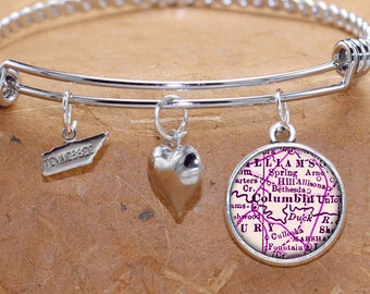 Columbia Tennessee Charm Bracelet Antique Map State of TN Bangle Cuff Bracelet Vintage Map Jewelry Stainless Steel Bracelet Gifts For Her