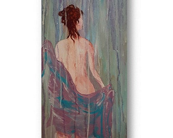 SALE Rain Shower bath decor original art 12 x 24 canvas  hand painted stretch canvas nude painting woman shower art  beach decor