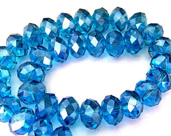 10mm indicolite blue crystal beads, sparkly Chinese crystal rondelles, qty 16