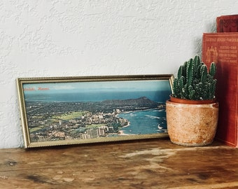 Vintage Framed Postcard of Waikiki Hawaii, Waikki Beach Photo Postcard, Retro Vacation Ephemera, Beach Coastal Decor, Eclectic Home Decor