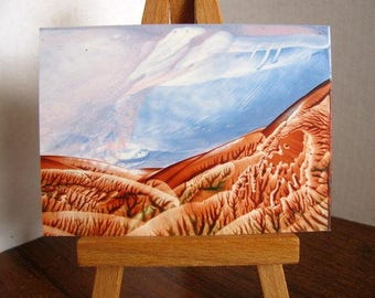 ACEO On a Clear Day, You Can See Forever Encaustic (Wax) Miniature Original Painting / Hills, Sky / SFA (Small Format Art)