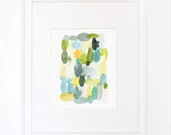 Ovals in Sap Green- Watercolor Art Print
