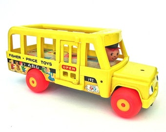 Fisher Price Little People School Bus 1960s Toy