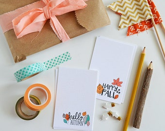 Happy Fall MINI Note Cards, Autumn, Stationery, Hand Drawn, Illustration, Thanksgiving, Notecards, Greeting Cards, Leaves