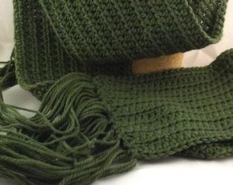 The Boyfriend Scarf 100% new wool crocheted huge scarf in eucalyptus green
